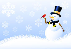 Sneeuwman, Kerstmisvogels met Sneeuw flacks Royalty-vrije Stock Afbeeldingen