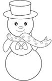 Sneeuwman kleurende pagina Royalty-vrije Stock Afbeeldingen