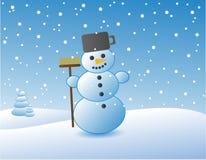 Sneeuwman in landschap Royalty-vrije Stock Afbeelding