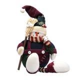 Sneeuwman met bezem Stock Afbeelding