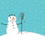 Sneeuwman met bezem Royalty-vrije Stock Afbeeldingen