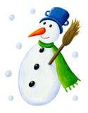 Sneeuwman met bezem Royalty-vrije Stock Foto's
