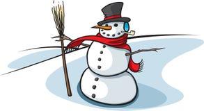 Sneeuwman met bezem Stock Afbeeldingen