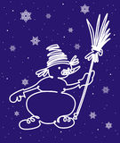 Sneeuwman met bezem Royalty-vrije Stock Foto