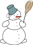 Sneeuwman met bezem Stock Fotografie