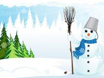 Sneeuwman met bezem en emmer Stock Foto