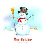 Sneeuwman met bezem op Kerstmisachtergrond Stock Afbeeldingen