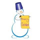 Sneeuwman met congradulations Stock Afbeelding
