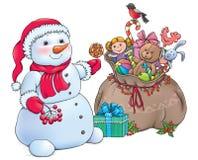 Sneeuwman met de Giften van Kerstmis Stock Foto