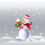 Sneeuwman met de giftwinter Vakantie Kerstmis royalty-vrije illustratie