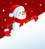 Sneeuwman met een affiche Vector Illustratie
