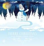 Sneeuwman met een bezem Royalty-vrije Stock Foto's