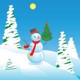 Sneeuwman met een boom van het Nieuwjaar Stock Afbeeldingen