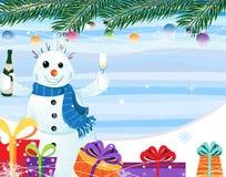 Sneeuwman met een fles champagne Stock Fotografie