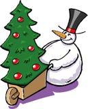 Sneeuwman met een Kerstmisboom Royalty-vrije Stock Afbeelding