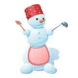 Sneeuwman met een rode pan in witte erwten op het hoofd Stock Foto's