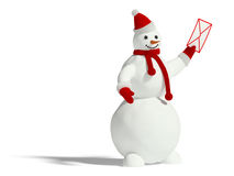 Sneeuwman met envelop Stock Foto's