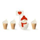 Sneeuwman met hart Stock Foto