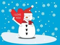 Sneeuwman met hart Royalty-vrije Stock Afbeelding