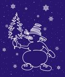 Sneeuwman met Kerstboom Stock Afbeelding