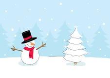 Sneeuwman met Kerstmisboom Royalty-vrije Stock Fotografie