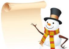 Sneeuwman met lijst Stock Foto's