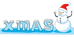 Sneeuwman met x- mas brieven royalty-vrije illustratie