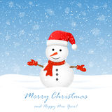 Sneeuwman met sneeuwvlokken stock illustratie