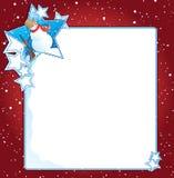 Sneeuwman met sterrenachtergrond Stock Afbeeldingen