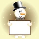 Sneeuwman met teken Royalty-vrije Stock Foto's