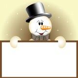 Sneeuwman met teken Royalty-vrije Stock Afbeeldingen