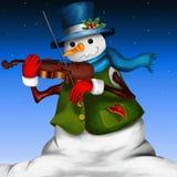 Sneeuwman met viool Stock Afbeeldingen