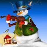 Sneeuwman met viool Royalty-vrije Stock Foto's