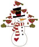 Sneeuwman met vogels Royalty-vrije Stock Afbeelding