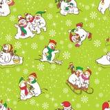 Sneeuwman naadloos patroon. Malplaatje voor het ontwerp van de Kerstmiswinter. Royalty-vrije Stock Foto's