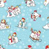 Sneeuwman naadloos patroon. Malplaatje voor het ontwerp van de Kerstmiswinter. Royalty-vrije Stock Afbeelding