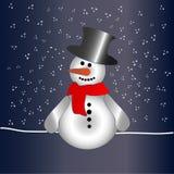 Sneeuwman in nacht Royalty-vrije Stock Foto