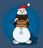Sneeuwman op blauwe achtergrond stock illustratie