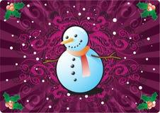 Sneeuwman op de Achtergrond van Kerstmis Royalty-vrije Stock Afbeeldingen
