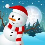 Sneeuwman op de Achtergrond van Kerstmis Stock Fotografie