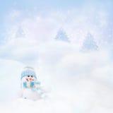 Sneeuwman op de de winterachtergrond Stock Afbeeldingen