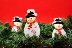 Sneeuwman op de naald Royalty-vrije Stock Afbeelding