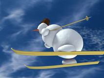 Sneeuwman op de skis vector illustratie