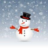 Sneeuwman op de winterachtergrond stock illustratie