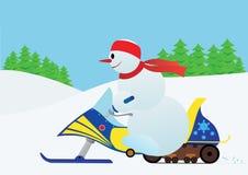 Sneeuwman op een sneeuwscooter stock illustratie