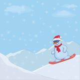 Sneeuwman op een snowboard Royalty-vrije Stock Afbeelding