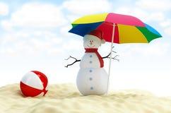 Sneeuwman op een strand vector illustratie