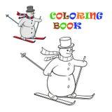 Sneeuwman op skis Royalty-vrije Stock Afbeeldingen