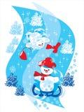 Sneeuwman op Slee Royalty-vrije Illustratie