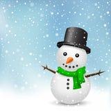 Sneeuwman op sneeuwachtergrond Royalty-vrije Stock Foto